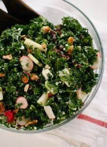 Kale Salad with Apple, Goat Cheese - 160 Kale Recipes - RecipePin.com