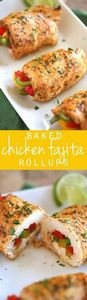 These Baked Chicken Fajita Roll-Up - 275 Delicious Mexican Recipes - RecipePin.com