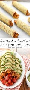 Baked Chicken Taquitos with Avocad - 275 Delicious Mexican Recipes - RecipePin.com