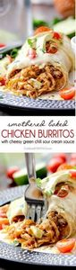 Smothered Baked Chicken Burritos - 275 Delicious Mexican Recipes - RecipePin.com