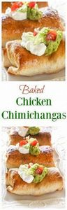 Baked Chicken Chimichangas - Crisp - 275 Delicious Mexican Recipes - RecipePin.com