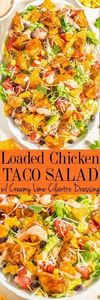 Loaded Chicken Taco Salad with Cre - 275 Delicious Mexican Recipes - RecipePin.com