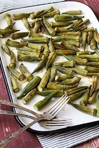 Roasted Okra with Garlic Butter - 100 Okra Recipes - RecipePin.com