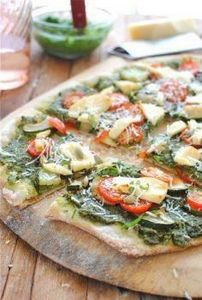 Garden Veggie Pizza with Kale Pest - 250 Great Pizza Recipes - RecipePin.com