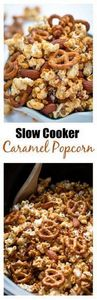 Slow Cooker Caramel Popcorn Snack  - 250 Popcorn Recipes - RecipePin.com