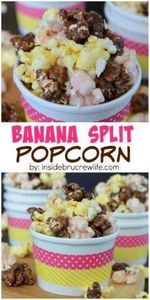 Chocolate, strawberry, and banana  - 250 Popcorn Recipes - RecipePin.com