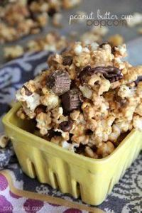 Peanut Butter Cup Popcorn | www.co - 250 Popcorn Recipes - RecipePin.com