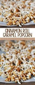This Cinnamon Roll Caramel Popcorn - 250 Popcorn Recipes - RecipePin.com