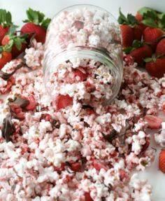 Chocolate Strawberry covered popco - 250 Popcorn Recipes - RecipePin.com