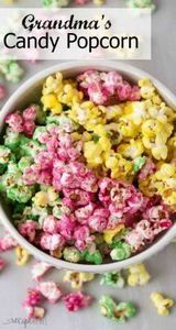 Candy Popcorn is an easy holiday t - 250 Popcorn Recipes - RecipePin.com