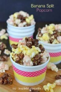 Banana Split Popcorn - chocolate,  - 250 Popcorn Recipes - RecipePin.com