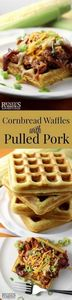 Cornbread Waffles with Pulled Pork - 180 Pork Recipes