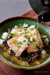 Japanese Salmon Chazuke (Green tea - 185 Salmon Recipes - RecipePin.com