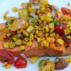 Grilled Salmon with Corn Salsa - 185 Salmon Recipes - RecipePin.com