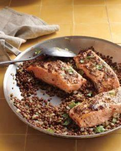 Mustard-Glazed Salmon with Lentils - 185 Salmon Recipes - RecipePin.com