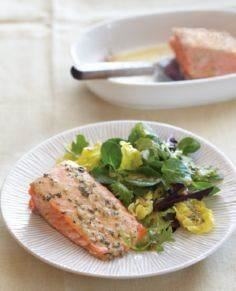 Roasted Salmon with Thyme Vinaigre - 185 Salmon Recipes - RecipePin.com