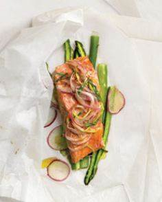 Lemon-Tarragon Salmon Over Asparag - 185 Salmon Recipes - RecipePin.com
