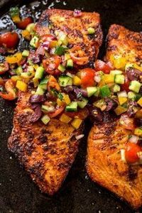 Pan Seared Salmon with Mediterrane - 185 Salmon Recipes - RecipePin.com