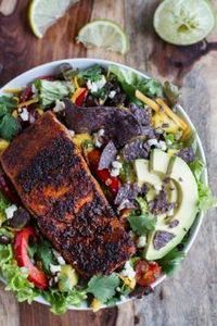 Chile Lime Salmon Fajita Salad wit - 185 Salmon Recipes - RecipePin.com