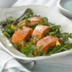 Pan-Seared Salmon with Pea Shoots  - 185 Salmon Recipes - RecipePin.com