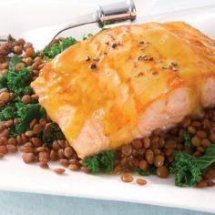 Honey Mustard-Glazed Salmon with L - 185 Salmon Recipes - RecipePin.com
