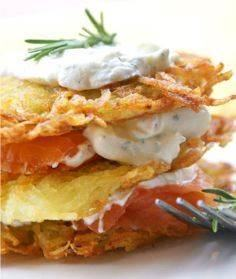 Potato Pancakes with Smoked Salmon - 185 Salmon Recipes - RecipePin.com