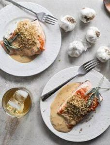 Pan-Crisped Salmon with Light Dijo - 185 Salmon Recipes - RecipePin.com