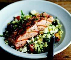 Grilled Salmon with Orzo, Feta, an - 185 Salmon Recipes - RecipePin.com