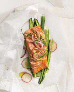 Tarragon Salmon Over Asparagus - 185 Salmon Recipes - RecipePin.com