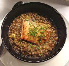 Green Lentils with Pan Fried Salmo - 185 Salmon Recipes - RecipePin.com