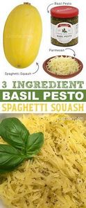 3-Ingredient Basil Pesto Spaghetti - 275 Spaghetti Squash Recipes - RecipePin.com