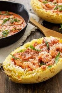 Spicy Tomato Garlic Shrimp with Sp - 275 Spaghetti Squash Recipes - RecipePin.com