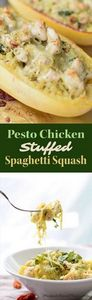 Pesto Chicken Stuffed Spaghetti Sq - 275 Spaghetti Squash Recipes - RecipePin.com