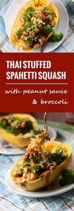 Thai Peanut & Broccoli Stuffed - 275 Spaghetti Squash Recipes - RecipePin.com