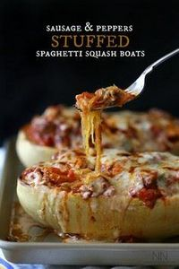 Sausage and Peppers Stuffed Spaghe - 275 Spaghetti Squash Recipes - RecipePin.com