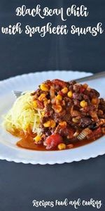 Black Bean Chili with Spaghetti Sq - 275 Spaghetti Squash Recipes - RecipePin.com