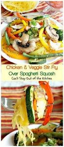 Chicken & Veggie Stir-Fry Over - 275 Spaghetti Squash Recipes - RecipePin.com