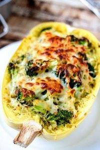 Broccoli & Cheese Stuffed Spag - 275 Spaghetti Squash Recipes - RecipePin.com