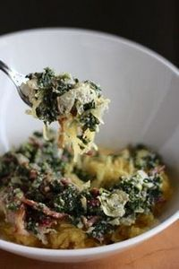 Spinach Artichoke and Bacon Spaghe - 275 Spaghetti Squash Recipes - RecipePin.com