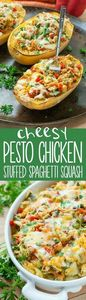 Cheesy Pesto Chicken and Veggie St - 275 Spaghetti Squash Recipes - RecipePin.com