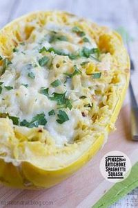 Use GF ingredients! Spinach Artich - 275 Spaghetti Squash Recipes - RecipePin.com