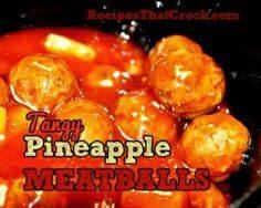 Tangy Pineapple Meatballs #CrockPo - 300 Tailgating Recipes - RecipePin.com