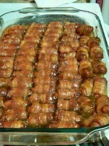 Bacon Wrapped Smokies with Brown S - 300 Tailgating Recipes - RecipePin.com