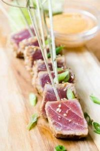 Ahi Tuna Skewers with Sriracha Aio - 400 Tasty Tuna Recipes - RecipePin.com