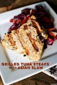 Grilled Tuna Steaks with Asian Sla - 400 Tasty Tuna Recipes - RecipePin.com
