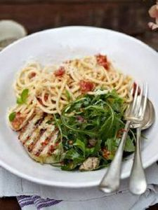 Grilled tuna with tomato spaghetti - 400 Tasty Tuna Recipes - RecipePin.com