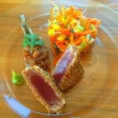 Spicy tuna steak and tartar on sum - 400 Tasty Tuna Recipes - RecipePin.com