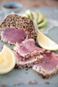 Seared Black Pepper Yellow Fin Tun - 400 Tasty Tuna Recipes - RecipePin.com