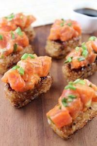 // Spicy Tuna on Crispy Rice Cakes - 400 Tasty Tuna Recipes - RecipePin.com