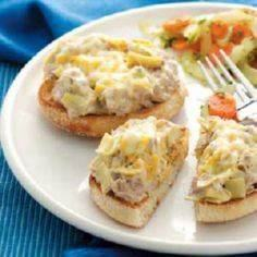 Tuna Artichoke Melts.  This recipe - 400 Tasty Tuna Recipes - RecipePin.com